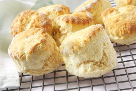 Fresh-baked scones straight from the oven, on a co...