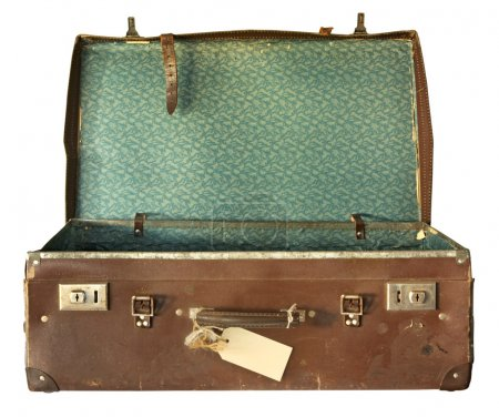 Vintage brown leather suitcase, open. With clippin...