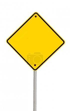 Photo pour Panneau d'avertissement routier jaune vierge (avec chemin de coupure ). - image libre de droit
