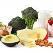 Food sources of calcium, isolated on white. Includ...