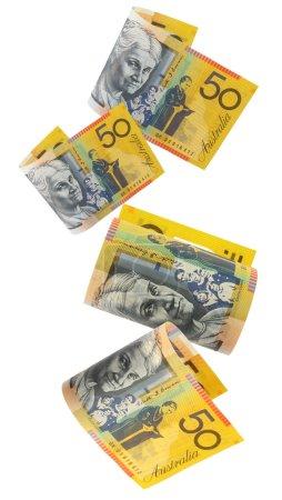 Australian fifty dollar notes, cascading down. Whi...