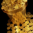 Bucket of golden coins, with black background and ...