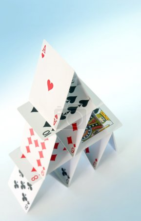 Photo for House of cards, viewed from above, with blue tone. - Royalty Free Image