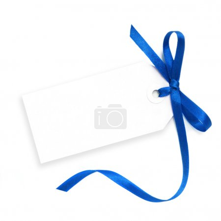 Blank Tag with Blue Ribbon