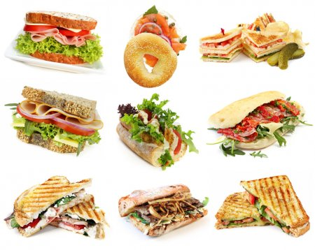 Photo for Collection of sandwiches, isolated on white. - Royalty Free Image