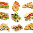 Collection of sandwiches, isolated on white....
