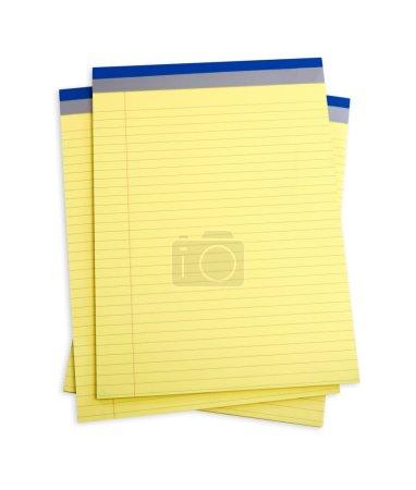 Photo pour Pile de blocs-notes bordés de jaune, isolés sur du blanc. Chemin de coupe inclus . - image libre de droit