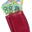 Red wallet with Australian money, including one hu...