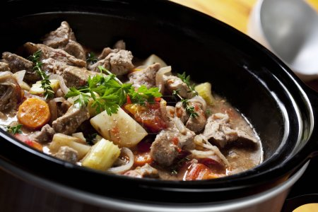 Photo for Beef Stew in a slow-cooker, ready to serve. - Royalty Free Image