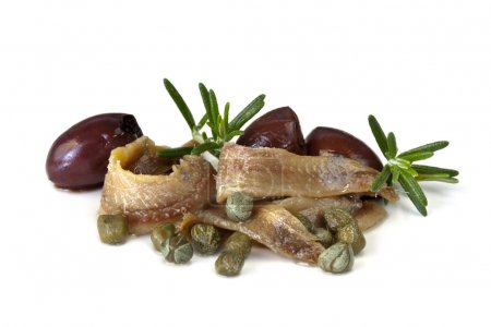 Anchovies with Capers and Olives