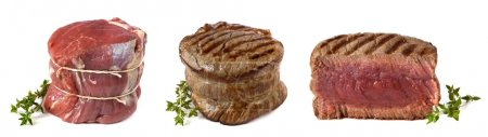Three views of a filet mignon - uncooked, chargril...