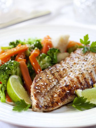 Photo for Grilled chicken breast with steamed vegetables. Delicious, low fat eating. - Royalty Free Image