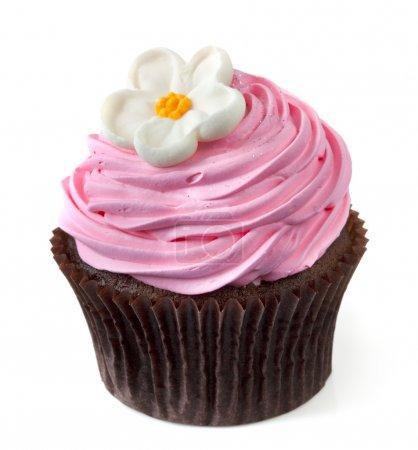 Photo pour Cupcake au chocolat avec glaçage rose et une fleur blanche, isolé sur blanc . - image libre de droit
