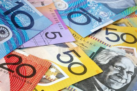 Australian money, in full-frame. Fifty, twenty, te...