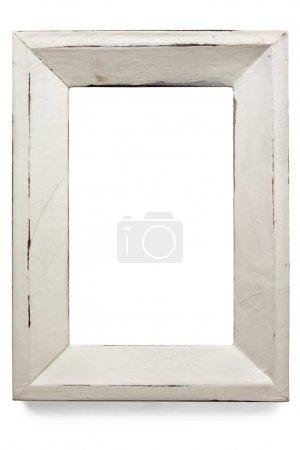Photo pour Cadre photo peint blanc en détresse, isolé sur blanc. - image libre de droit