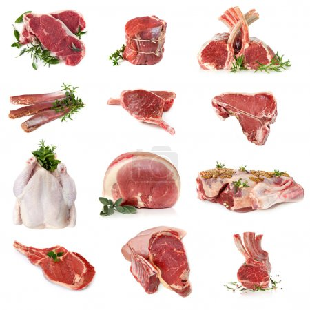 Cuts of raw meat, isolated on white. Includes beef...