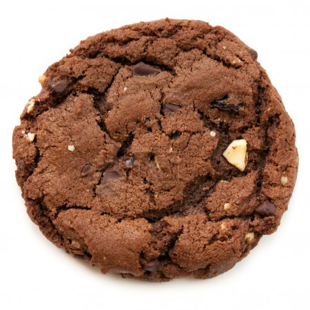 Photo for Large chocolate fudge cookie, isolated on white. Overhead view. - Royalty Free Image