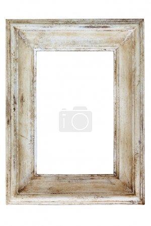 Photo pour Cadre photo peint blanc en détresse, isolé sur fond blanc. - image libre de droit