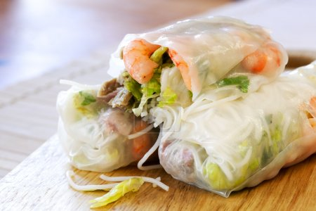 Photo for Vietnamese rice paper rolls with prawns, pork and bean sprouts. - Royalty Free Image