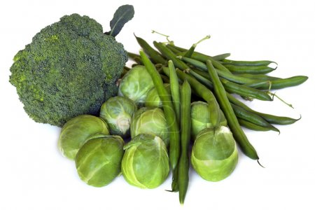 Photo for Green vegetables, isolated on white. Broccoli, brussel sprouts and green beans. - Royalty Free Image