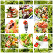 Collage of healthy salads. Includes caprese, Greek...