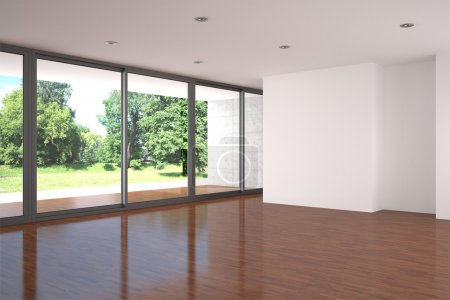 Photo for Empty modern living room with large window and parquet floor. - Royalty Free Image