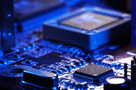Photo for Close-up of electronic circuit board with processor - Royalty Free Image