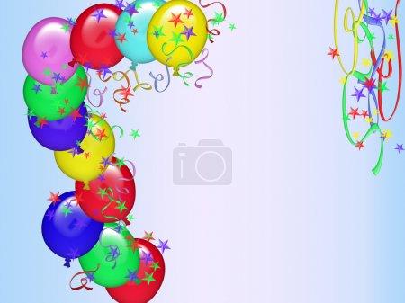 Photo pour Carte de voeux anniversaire avec des décorations et de l'espace pour le dévouement - image libre de droit