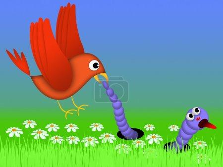 Bird and caterpillar