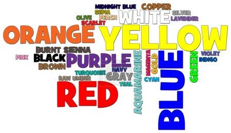 Photo pour Nuage de mots des noms vernaculaires de couleur dans leur couleur - image libre de droit