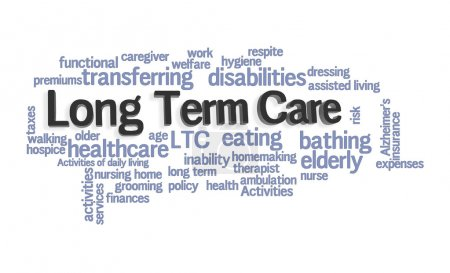 Long Term Care Word Cloud on White Background...