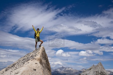 Photo for Rock climber celebrates on the needle pointed summit of a pinnacle after a successful ascent. - Royalty Free Image