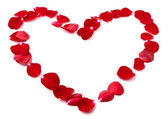Lístky divokých růží ve tvaru srdce
