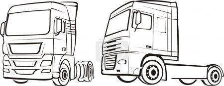 Truck, lorry, tir - silhouettes
