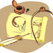 Sheet of paper with the drawing of human skull and...