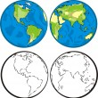 Continents silhouettes and globe, eastern hemisphe...
