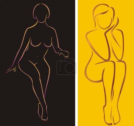 Sitting naked woman