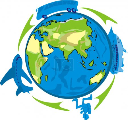 Illustration pour Trip avec une Agence de voyage autour du monde, la période des fêtes - image libre de droit