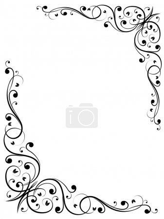 Simple abstract floral frame pattern