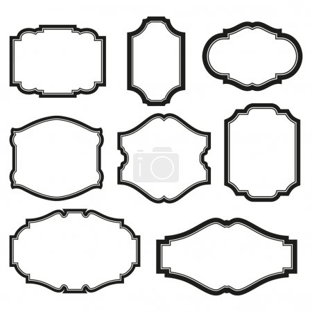 Illustration for Baroque simple set of black frames isolated on white - Royalty Free Image