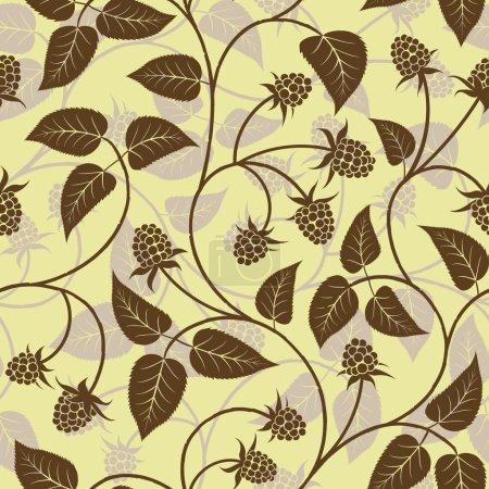 Illustration pour Framboise vectorielle avec feuille sur fond de branche sans couture - image libre de droit