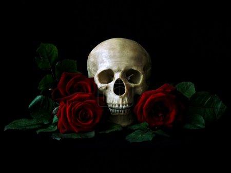 Skull roses and candler over black...