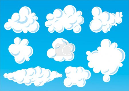 Illustration for Vector Illustration of cartoon funny clouds. - Royalty Free Image