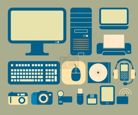 Illustration for Vector icons with a computer and electronics theme. - Royalty Free Image