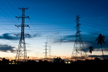 Electricity poles in twilight time