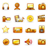 Set of icons on a theme Photo and Video_orange