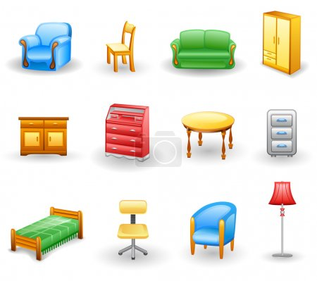 Illustration for Furniture icon set. Isolated on a white background. - Royalty Free Image