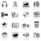 Photo and Video black icon set isolated on white background