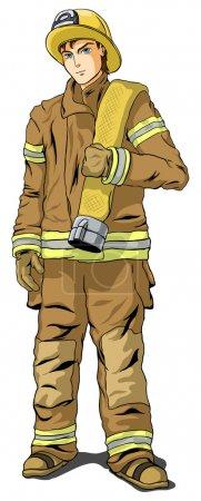 Illustration pour Pompier en forme sur fond blanc - image libre de droit
