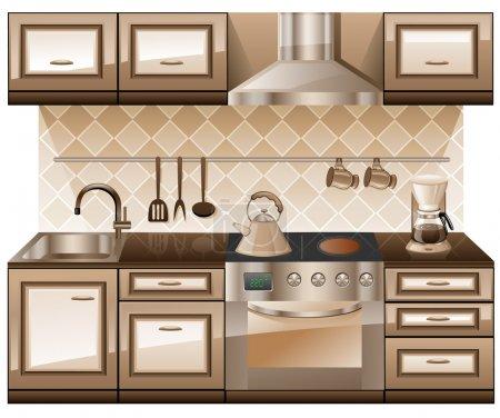 Illustration for Kitchen furniture isolated on white background. - Royalty Free Image